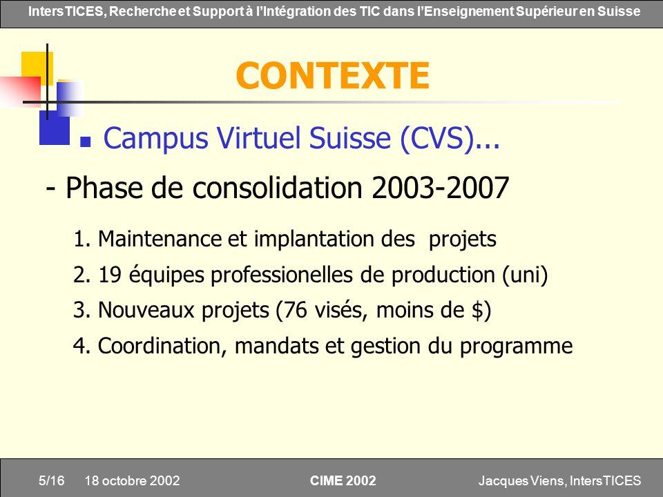 Jacques Viens, IntersTICES5/16 IntersTICES, Recherche et Support à lIntégration des TIC dans lEnseignement Supérieur en Suisse CIME 2002 18 octobre 20