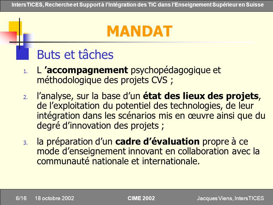 Jacques Viens, IntersTICES6/16 IntersTICES, Recherche et Support à lIntégration des TIC dans lEnseignement Supérieur en Suisse CIME 2002 18 octobre 20