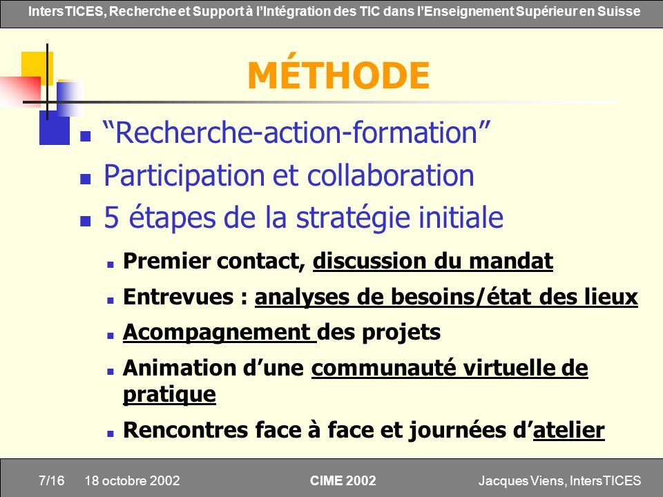 Jacques Viens, IntersTICES7/16 IntersTICES, Recherche et Support à lIntégration des TIC dans lEnseignement Supérieur en Suisse CIME 2002 18 octobre 20