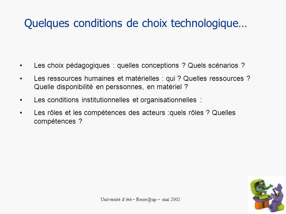 Université dété – Recre@up – mai 2002 Quelques conditions de choix technologique… Les choix pédagogiques : quelles conceptions .