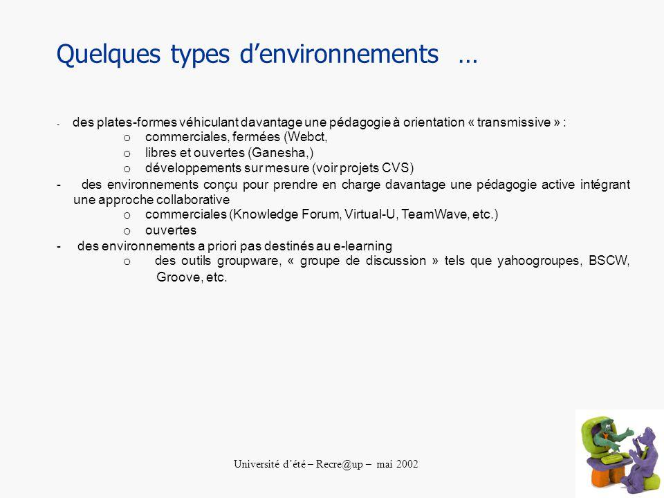 Université dété – Recre@up – mai 2002 Quelques types denvironnements … - des plates-formes véhiculant davantage une pédagogie à orientation « transmissive » : o commerciales, fermées (Webct, o libres et ouvertes (Ganesha,) o développements sur mesure (voir projets CVS) - des environnements conçu pour prendre en charge davantage une pédagogie active intégrant une approche collaborative o commerciales (Knowledge Forum, Virtual-U, TeamWave, etc.) o ouvertes - des environnements a priori pas destinés au e-learning o des outils groupware, « groupe de discussion » tels que yahoogroupes, BSCW, Groove, etc.