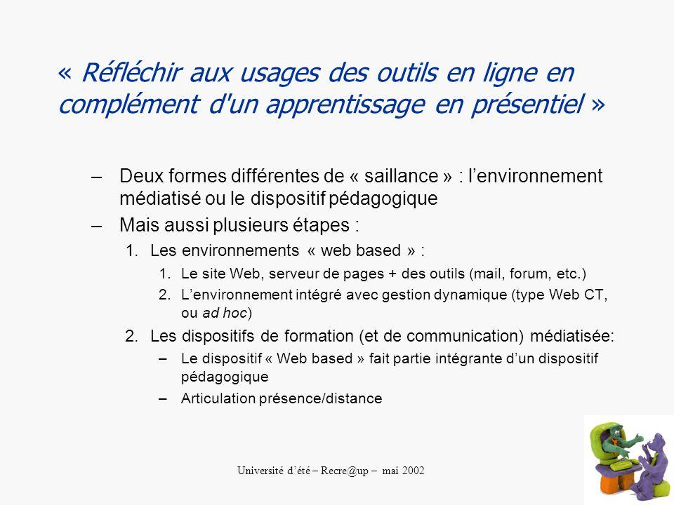Université dété – Recre@up – mai 2002 « Réfléchir aux usages des outils en ligne en complément d un apprentissage en présentiel » –Deux formes différentes de « saillance » : lenvironnement médiatisé ou le dispositif pédagogique –Mais aussi plusieurs étapes : 1.Les environnements « web based » : 1.Le site Web, serveur de pages + des outils (mail, forum, etc.) 2.Lenvironnement intégré avec gestion dynamique (type Web CT, ou ad hoc) 2.Les dispositifs de formation (et de communication) médiatisée: –Le dispositif « Web based » fait partie intégrante dun dispositif pédagogique –Articulation présence/distance