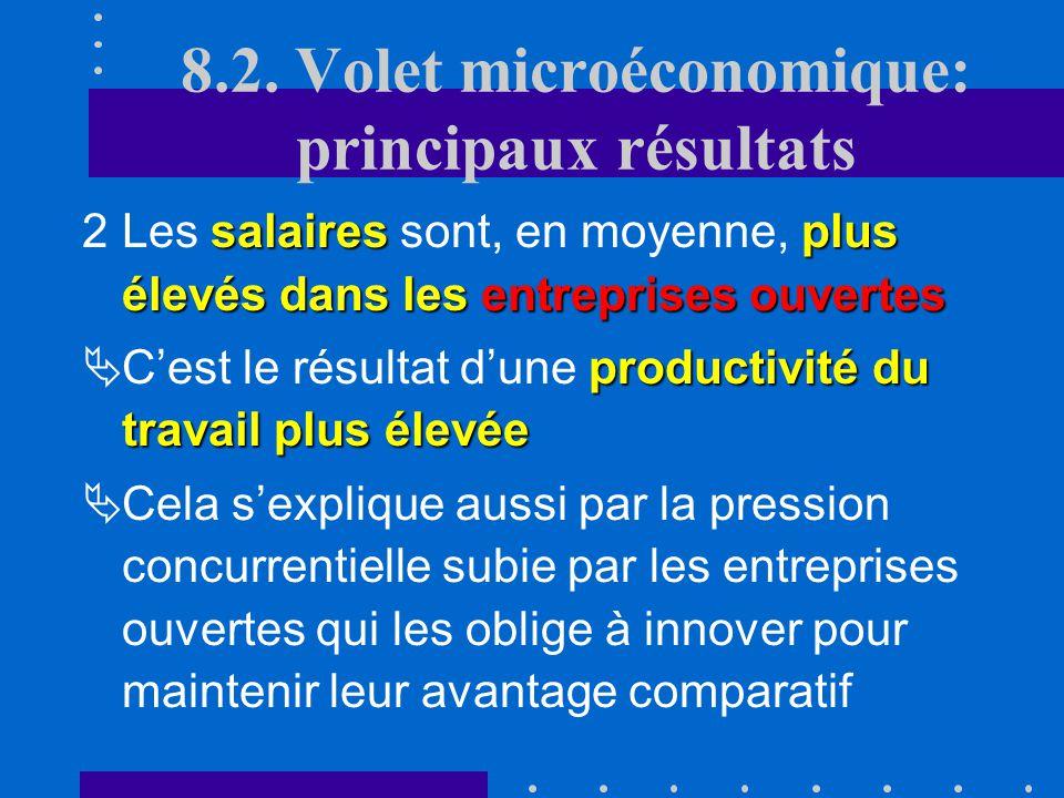 8.2. Volet microéconomique: principaux résultats « sélection » des individus nest pas purement aléatoire 1La « sélection » des individus entre les ent