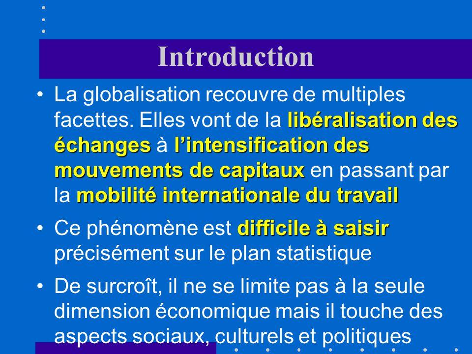 Introduction libéralisation des échangeslintensification des mouvements de capitaux mobilité internationale du travailLa globalisation recouvre de multiples facettes.