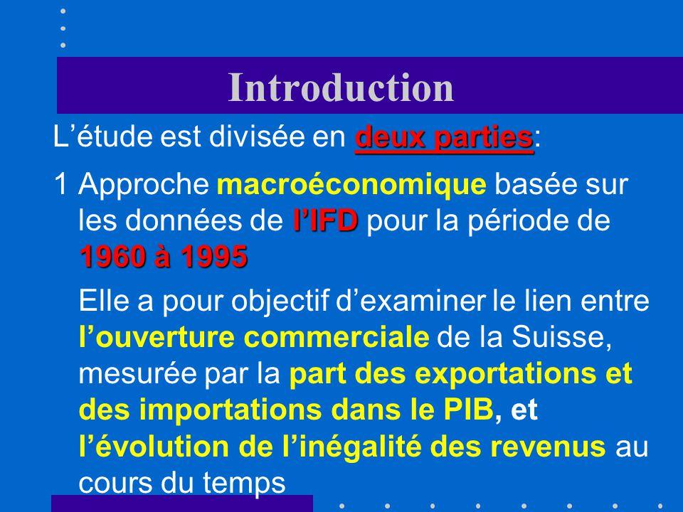 Introduction deux parties Létude est divisée en deux parties: lIFD 1960 à 1995 1Approche macroéconomique basée sur les données de lIFD pour la période de 1960 à 1995 Elle a pour objectif dexaminer le lien entre louverture commerciale de la Suisse, mesurée par la part des exportations et des importations dans le PIB, et lévolution de linégalité des revenus au cours du temps