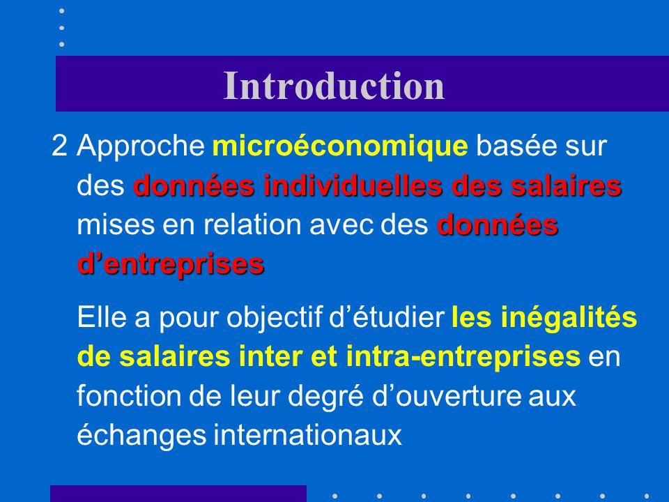 Introduction données individuelles des salaires données dentreprises 2Approche microéconomique basée sur des données individuelles des salaires mises en relation avec des données dentreprises Elle a pour objectif détudier les inégalités de salaires inter et intra-entreprises en fonction de leur degré douverture aux échanges internationaux