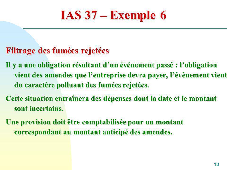 10 IAS 37 – Exemple 6 Filtrage des fumées rejetées Il y a une obligation résultant dun événement passé : lobligation vient des amendes que lentreprise
