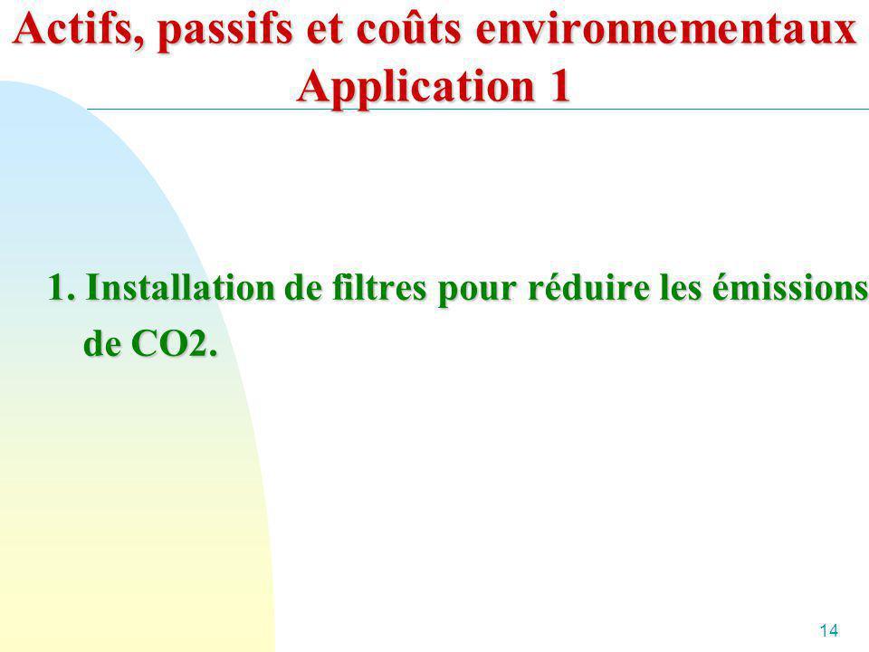 14 Actifs, passifs et coûts environnementaux Application 1 1. Installation de filtres pour réduire les émissions de CO2.