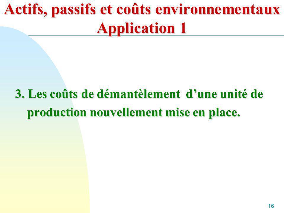 16 Actifs, passifs et coûts environnementaux Application 1 3. Les coûts de démantèlement dune unité de production nouvellement mise en place.