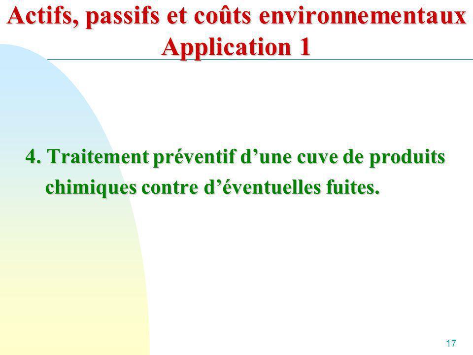 17 Actifs, passifs et coûts environnementaux Application 1 4. Traitement préventif dune cuve de produits chimiques contre déventuelles fuites.