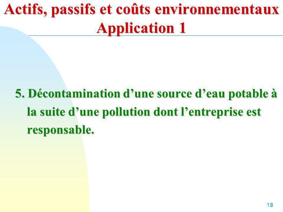 18 Actifs, passifs et coûts environnementaux Application 1 5. Décontamination dune source deau potable à la suite dune pollution dont lentreprise est