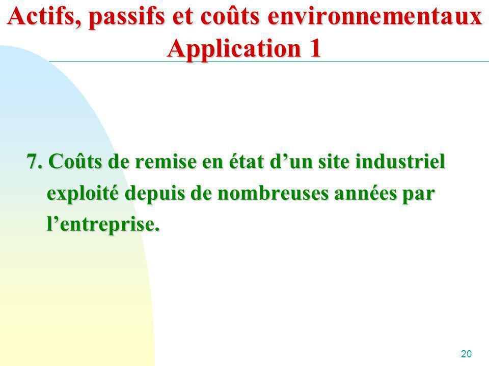 20 Actifs, passifs et coûts environnementaux Application 1 7. Coûts de remise en état dun site industriel exploité depuis de nombreuses années par len