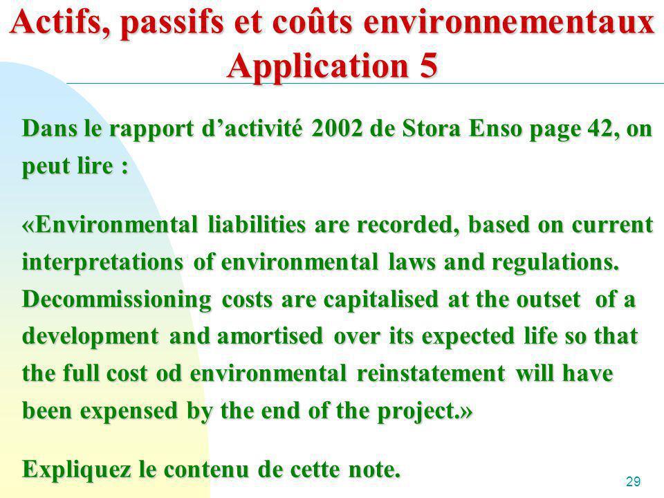 29 Actifs, passifs et coûts environnementaux Application 5 Dans le rapport dactivité 2002 de Stora Enso page 42, on peut lire : «Environmental liabili