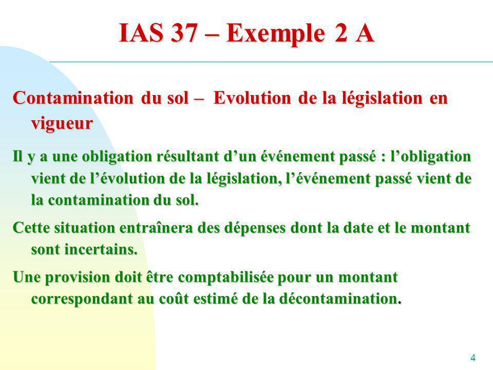 4 IAS 37 – Exemple 2 A Contamination du sol – Evolution de la législation en vigueur Il y a une obligation résultant dun événement passé : lobligation