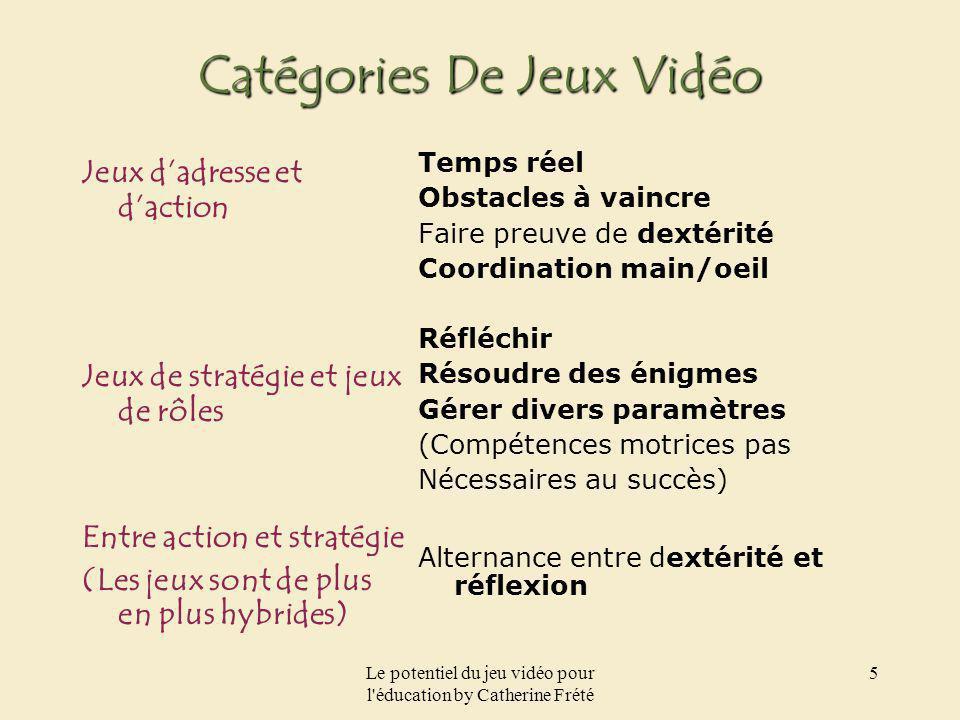 Le potentiel du jeu vidéo pour l'éducation by Catherine Frété 5 Catégories De Jeux Vidéo Jeux dadresse et daction Jeux de stratégie et jeux de rôles E