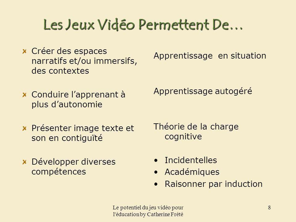 Le potentiel du jeu vidéo pour l'éducation by Catherine Frété 8 Les Jeux Vidéo Permettent De… Créer des espaces narratifs et/ou immersifs, des context