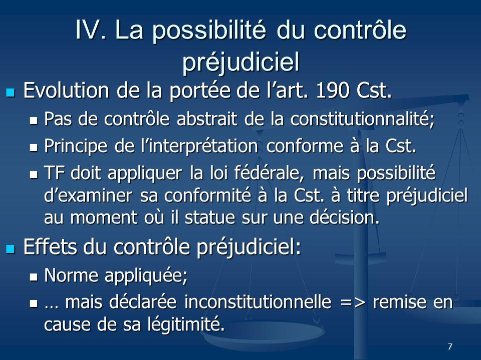 7 IV. La possibilité du contrôle préjudiciel Evolution de la portée de lart.