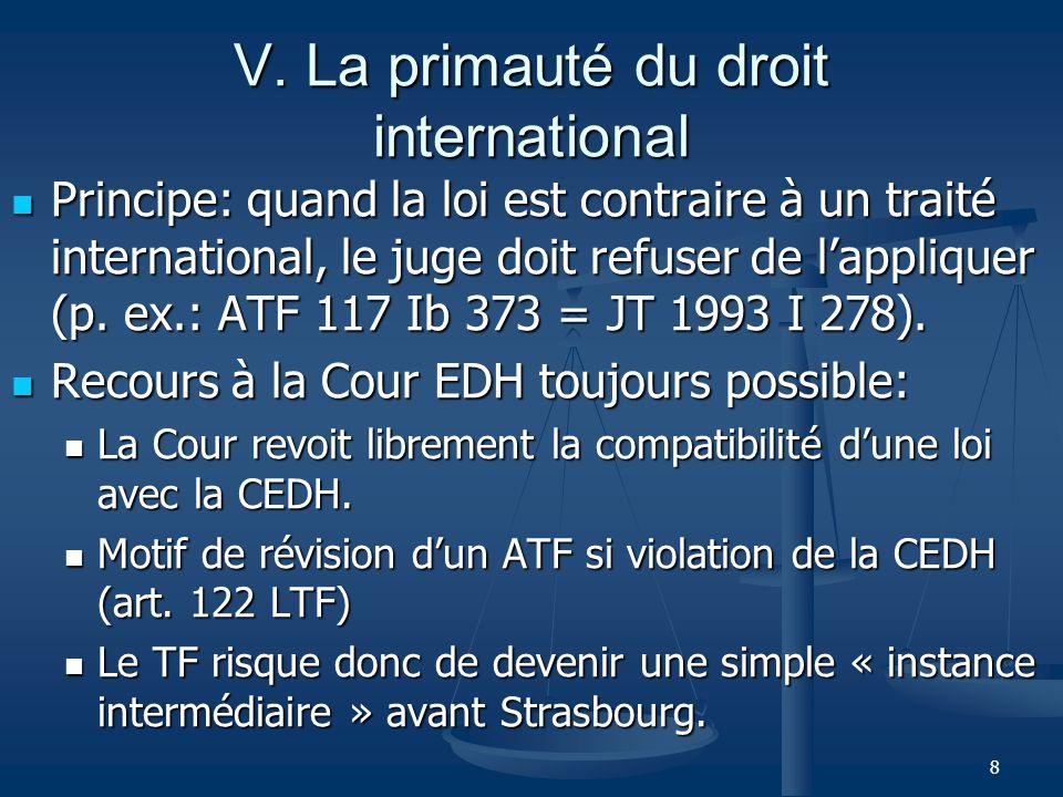 8 V. La primauté du droit international Principe: quand la loi est contraire à un traité international, le juge doit refuser de lappliquer (p. ex.: AT