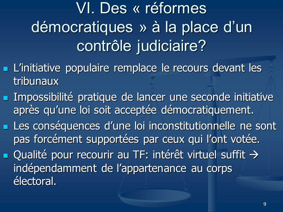 9 VI. Des « réformes démocratiques » à la place dun contrôle judiciaire.
