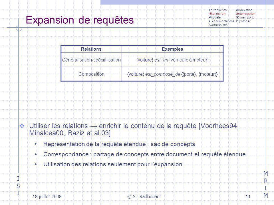 ISIISI MRIMMRIM 18 juillet 2008© S. Radhouani11 Expansion de requêtes Utiliser les relations enrichir le contenu de la requête [Voorhees94, Mihalcea00