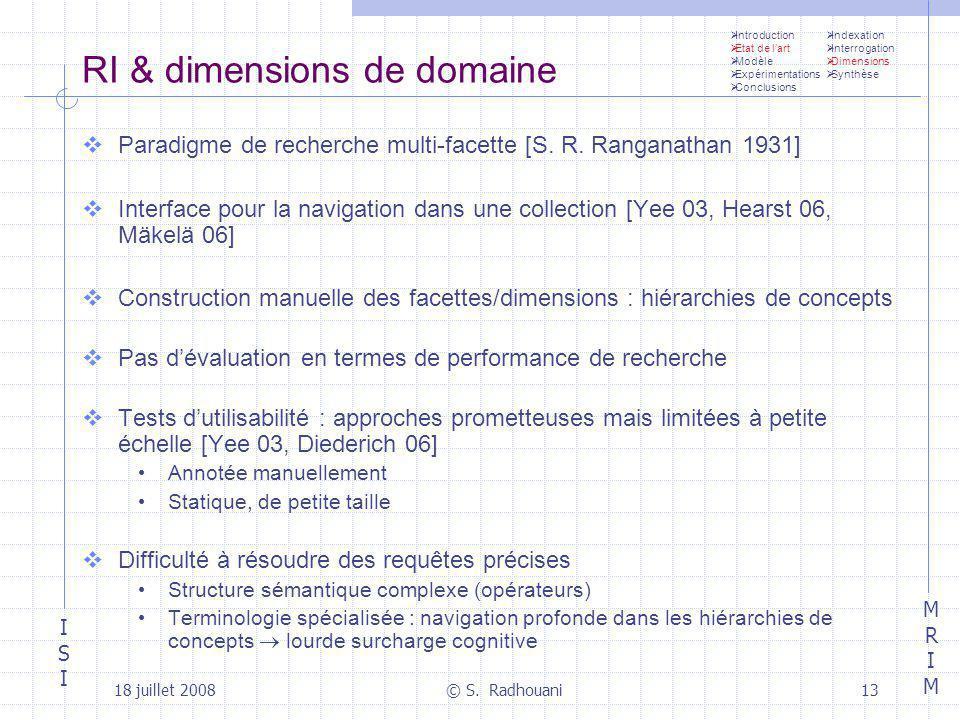 ISIISI MRIMMRIM 18 juillet 2008© S. Radhouani13 RI & dimensions de domaine Paradigme de recherche multi-facette [S. R. Ranganathan 1931] Interface pou