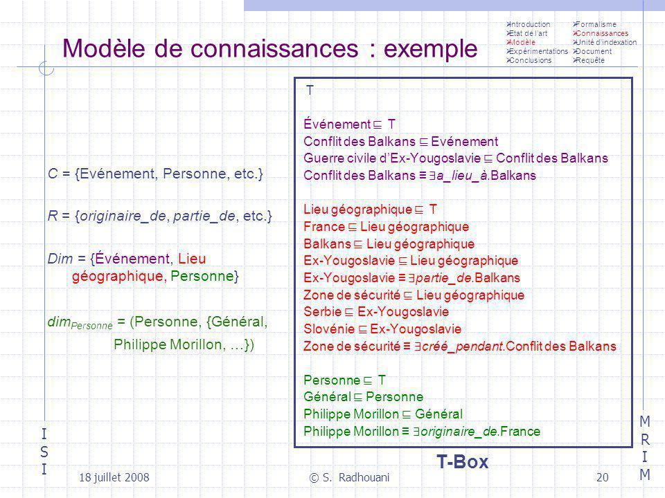 ISIISI MRIMMRIM 18 juillet 2008© S. Radhouani20 Modèle de connaissances : exemple Introduction Etat de lart Modèle Expérimentations Conclusions C = {E