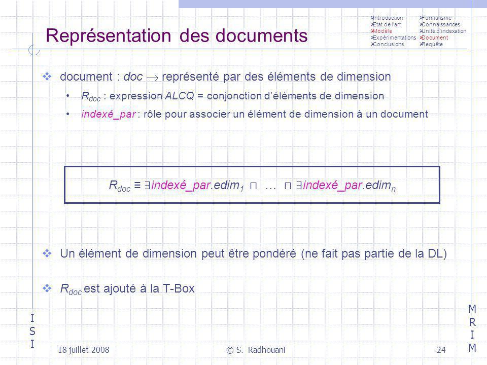 ISIISI MRIMMRIM 18 juillet 2008© S. Radhouani24 Représentation des documents document : doc représenté par des éléments de dimension R doc : expressio