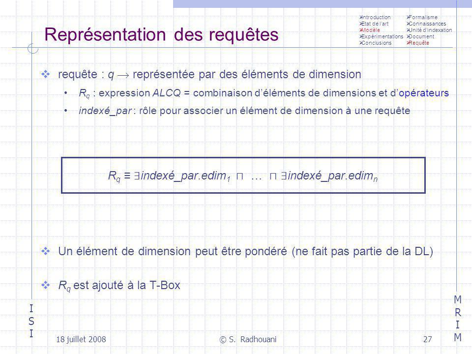 ISIISI MRIMMRIM 18 juillet 2008© S. Radhouani27 Représentation des requêtes requête : q représentée par des éléments de dimension R q : expression ALC