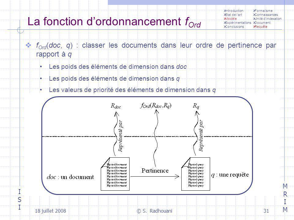 ISIISI MRIMMRIM 18 juillet 2008© S. Radhouani31 La fonction dordonnancement f Ord f Ord (doc, q) : classer les documents dans leur ordre de pertinence