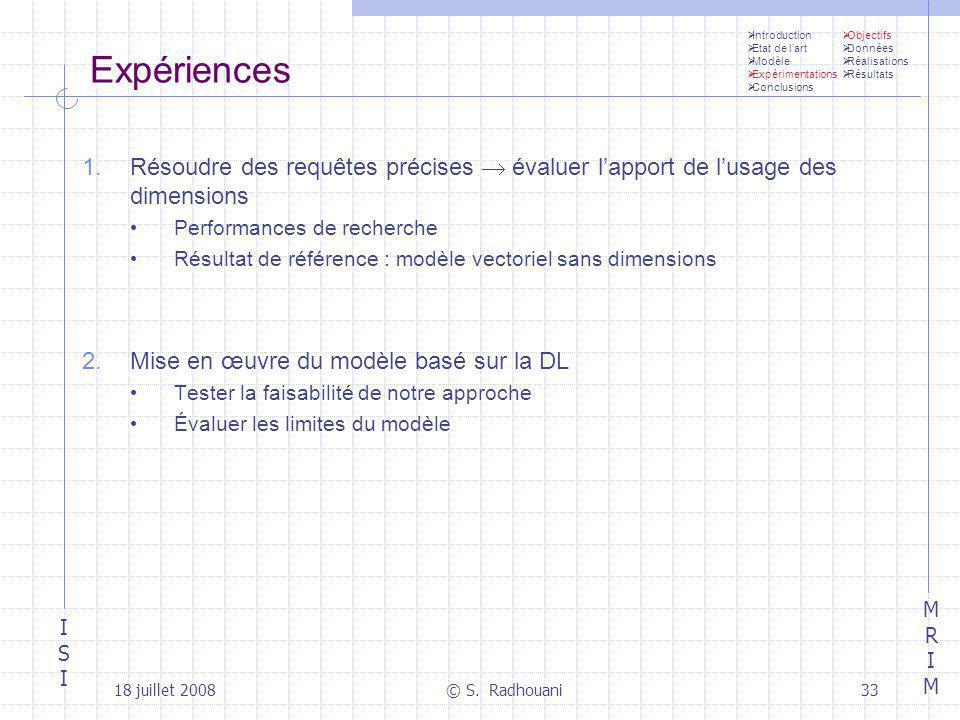 ISIISI MRIMMRIM 18 juillet 2008© S. Radhouani33 Expériences 1.Résoudre des requêtes précises évaluer lapport de lusage des dimensions Performances de