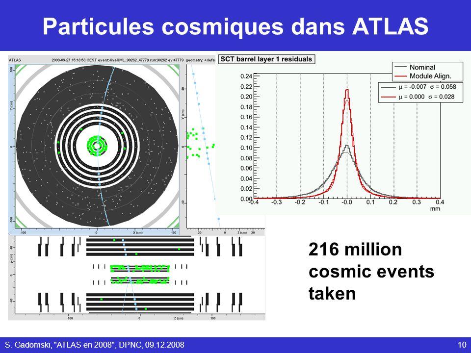 Particules cosmiques dans ATLAS 216 million cosmic events taken 10S. Gadomski,