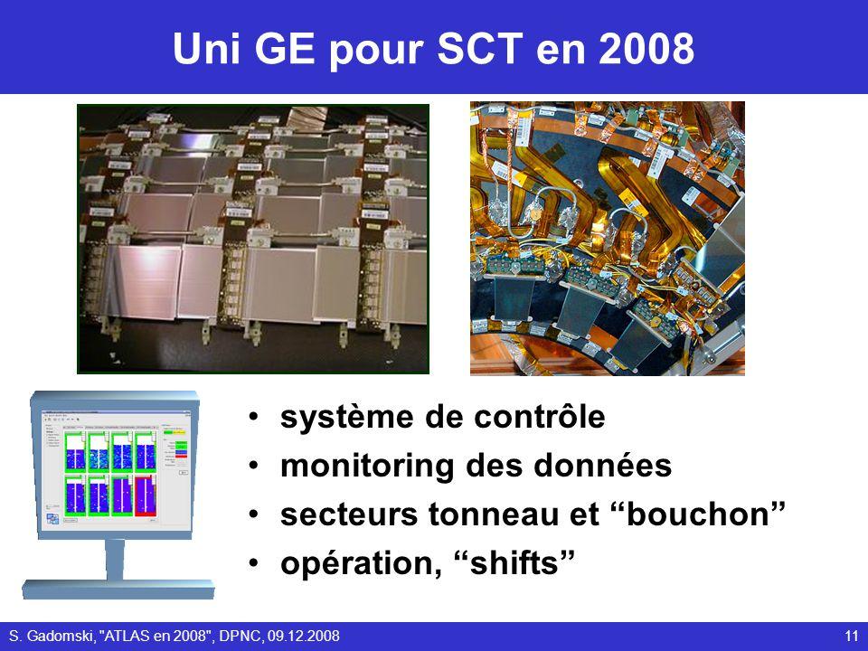 Uni GE pour SCT en 2008 système de contrôle monitoring des données secteurs tonneau et bouchon opération, shifts 11S.