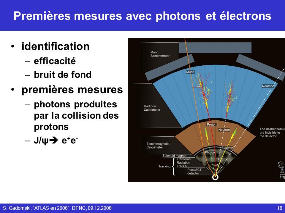 Premières mesures avec photons et électrons identification –efficacité –bruit de fond premières mesures –photons produites par la collision des proton