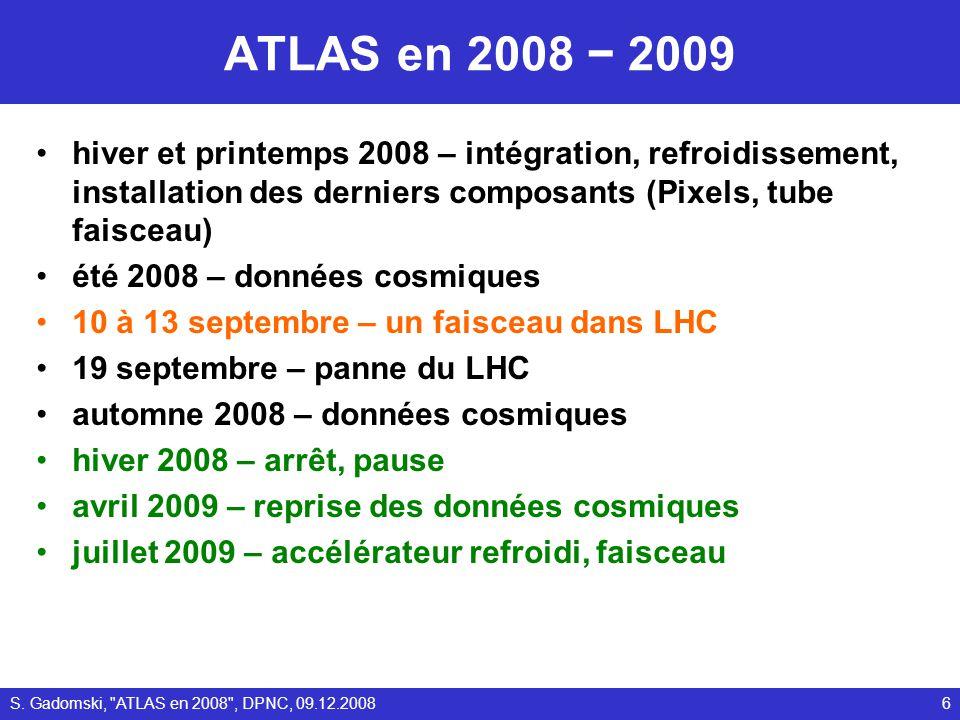 ATLAS en 2008 2009 hiver et printemps 2008 – intégration, refroidissement, installation des derniers composants (Pixels, tube faisceau) été 2008 – don