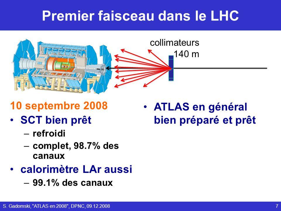 Premières particules du LHC dans ATLAS 8S. Gadomski, ATLAS en 2008 , DPNC, 09.12.2008