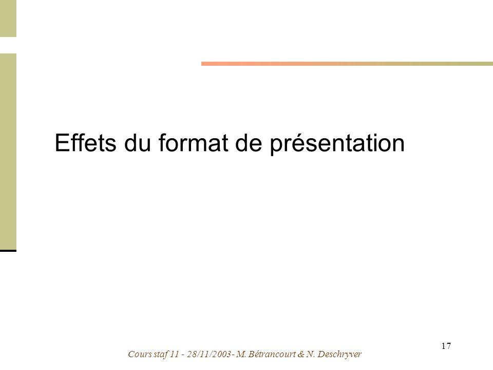 Cours staf 11 - 28/11/2003- M. Bétrancourt & N. Deschryver 17 Effets du format de présentation