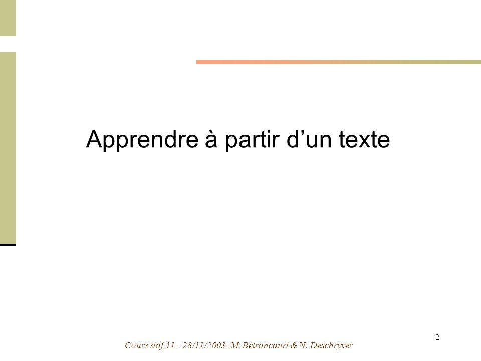 Cours staf 11 - 28/11/2003- M. Bétrancourt & N. Deschryver 2 Apprendre à partir dun texte