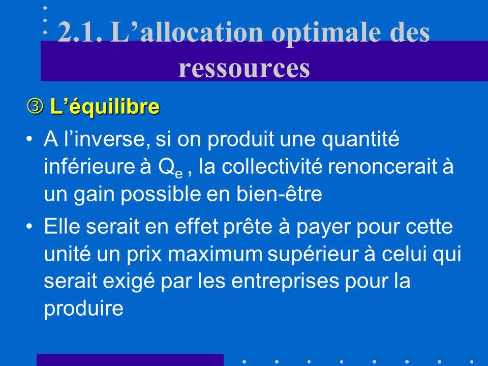 Léquilibre Léquilibre Si on produisait plus que la quantité Q e, on constaterait que la collectivité est prête à payer un prix maximum inférieur au pr