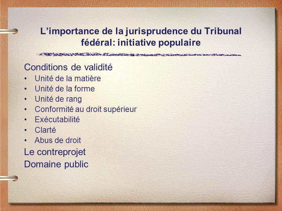 Limportance de la jurisprudence du Tribunal fédéral: initiative populaire Conditions de validité Unité de la matière Unité de la forme Unité de rang C