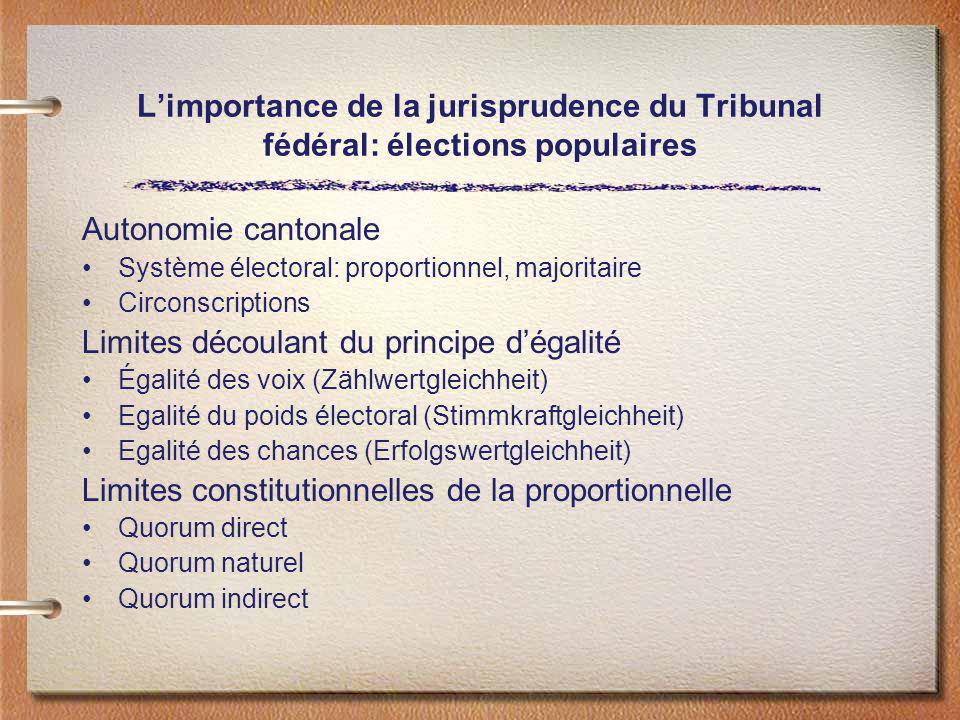Limportance de la jurisprudence du Tribunal fédéral: élections populaires Autonomie cantonale Système électoral: proportionnel, majoritaire Circonscri
