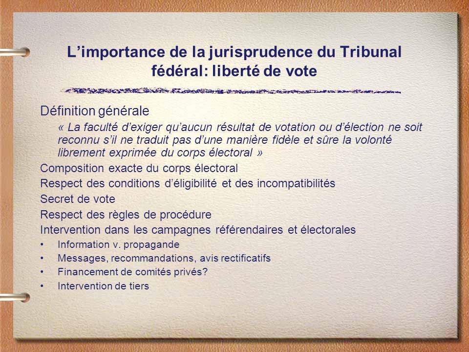 Limportance de la jurisprudence du Tribunal fédéral: liberté de vote Définition générale « La faculté dexiger quaucun résultat de votation ou délectio