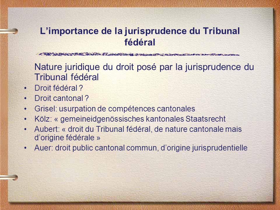 Limportance de la jurisprudence du Tribunal fédéral Nature juridique du droit posé par la jurisprudence du Tribunal fédéral Droit fédéral ? Droit cant