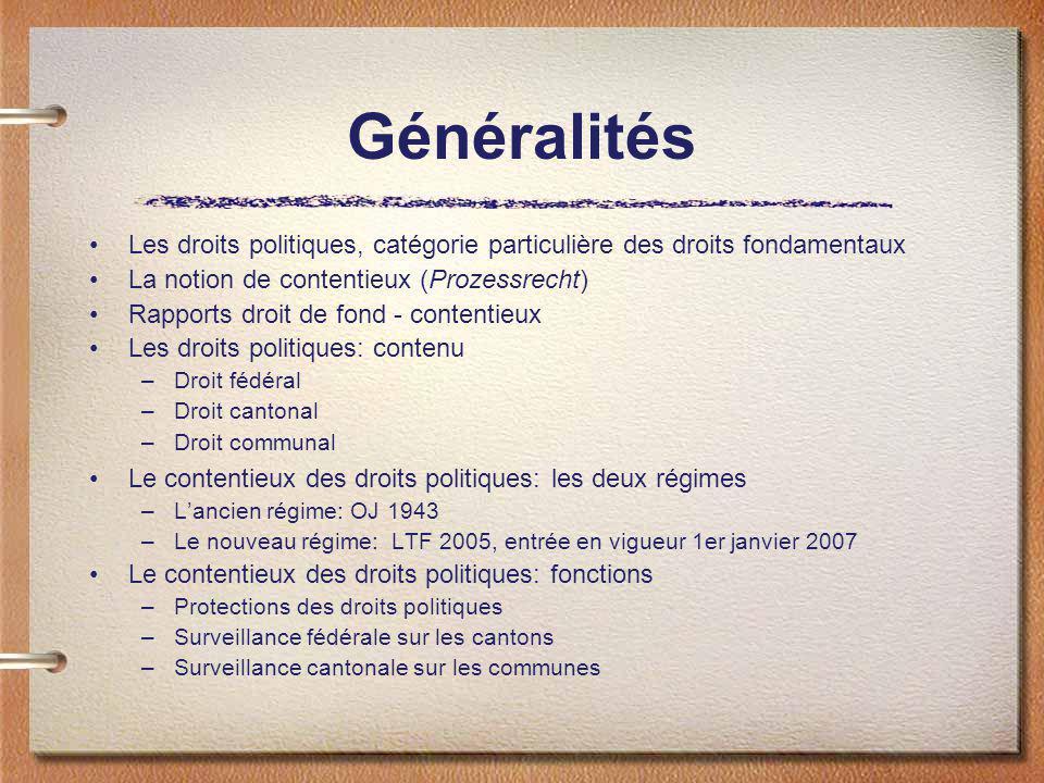 Généralités Les droits politiques, catégorie particulière des droits fondamentaux La notion de contentieux (Prozessrecht) Rapports droit de fond - con