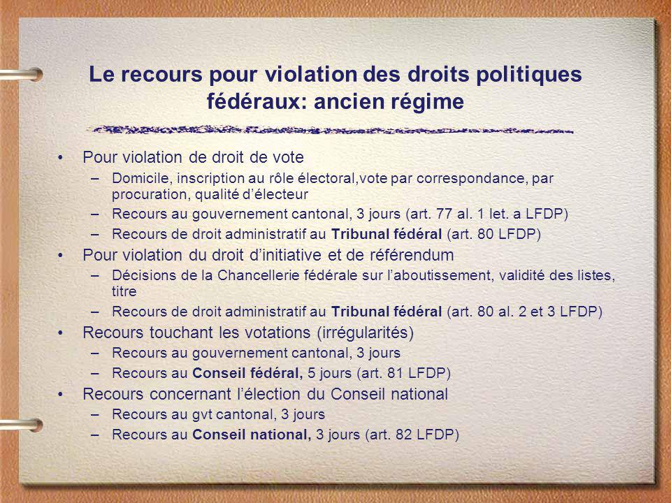 Le recours pour violation des droits politiques fédéraux: ancien régime Pour violation de droit de vote –Domicile, inscription au rôle électoral,vote