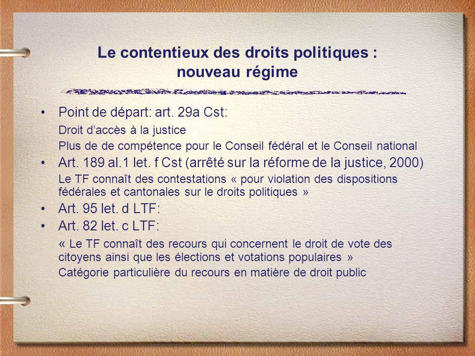 Le contentieux des droits politiques : nouveau régime Point de départ: art. 29a Cst: Droit daccès à la justice Plus de de compétence pour le Conseil f