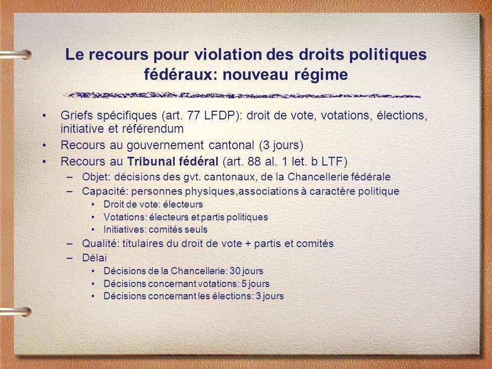 Le recours pour violation des droits politiques fédéraux: nouveau régime Griefs spécifiques (art. 77 LFDP): droit de vote, votations, élections, initi