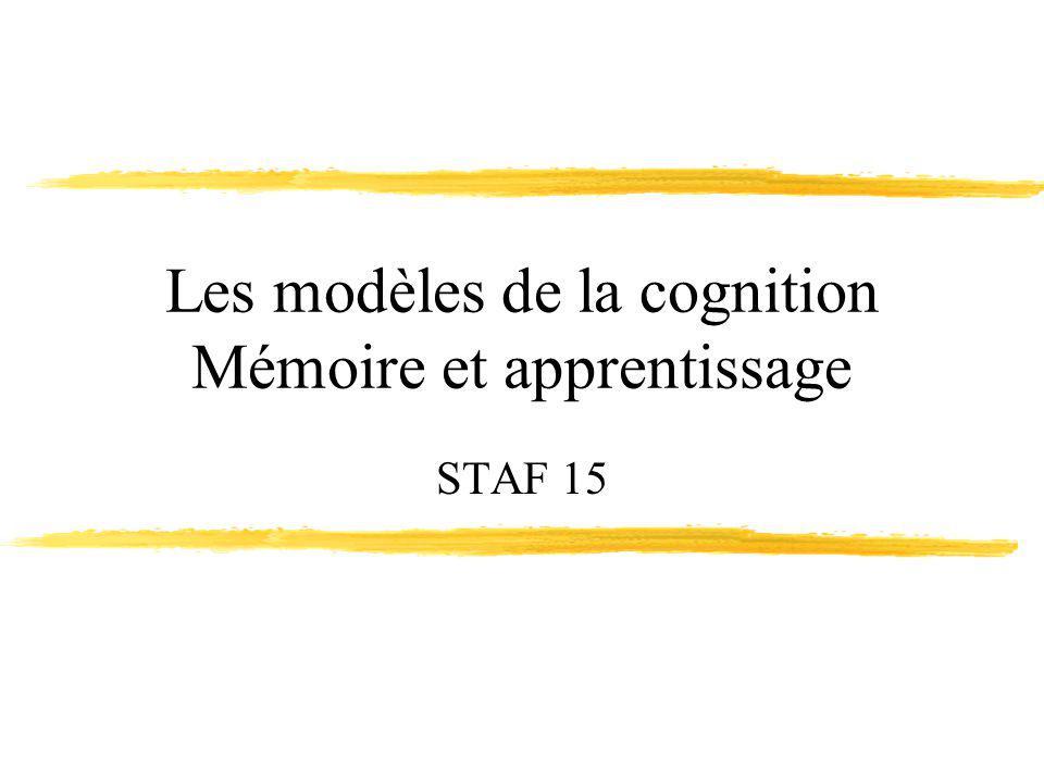 Les modèles de la cognition Mémoire et apprentissage STAF 15