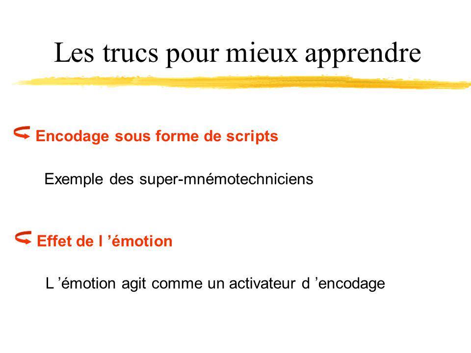 Les trucs pour mieux apprendre Encodage sous forme de scripts Exemple des super-mnémotechniciens Effet de l émotion L émotion agit comme un activateur d encodage