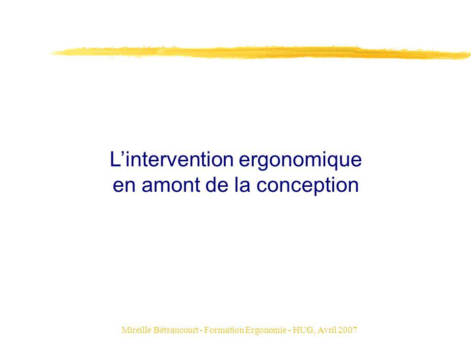 Mireille Bétrancourt - Formation Ergonomie - HUG, Avril 2007 Lintervention ergonomique en amont de la conception