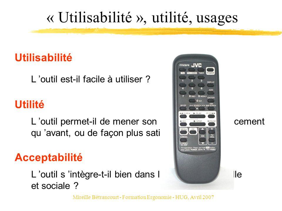 Mireille Bétrancourt - Formation Ergonomie - HUG, Avril 2007 « Utilisabilité », utilité, usages L outil permet-il de mener son activité plus efficacem